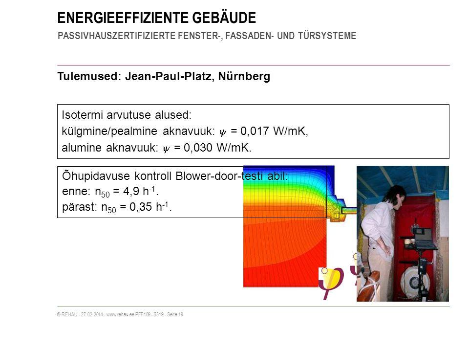ENERGIEEFFIZIENTE GEBÄUDE PASSIVHAUSZERTIFIZIERTE FENSTER-, FASSADEN- UND TÜRSYSTEME © REHAU - 27.02.2014 - www.rehau.ee PFF109 - 5519 - Seite 19 Tulemused: Jean-Paul-Platz, Nürnberg Isotermi arvutuse alused: külgmine/pealmine aknavuuk: = 0,017 W/mK, alumine aknavuuk: = 0,030 W/mK.