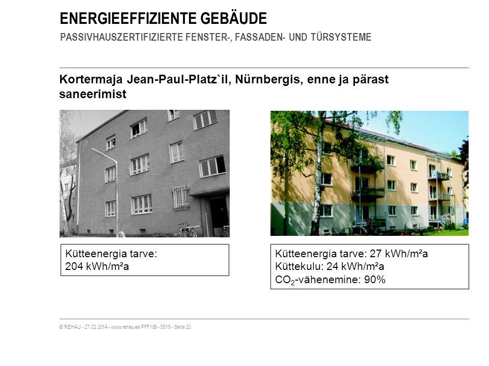 ENERGIEEFFIZIENTE GEBÄUDE PASSIVHAUSZERTIFIZIERTE FENSTER-, FASSADEN- UND TÜRSYSTEME © REHAU - 27.02.2014 - www.rehau.ee PFF109 - 5519 - Seite 20 Kortermaja Jean-Paul-Platz`il, Nürnbergis, enne ja pärast saneerimist Kütteenergia tarve: 204 kWh/m²a Kütteenergia tarve: 27 kWh/m²a Küttekulu: 24 kWh/m²a CO 2 -vähenemine: 90%