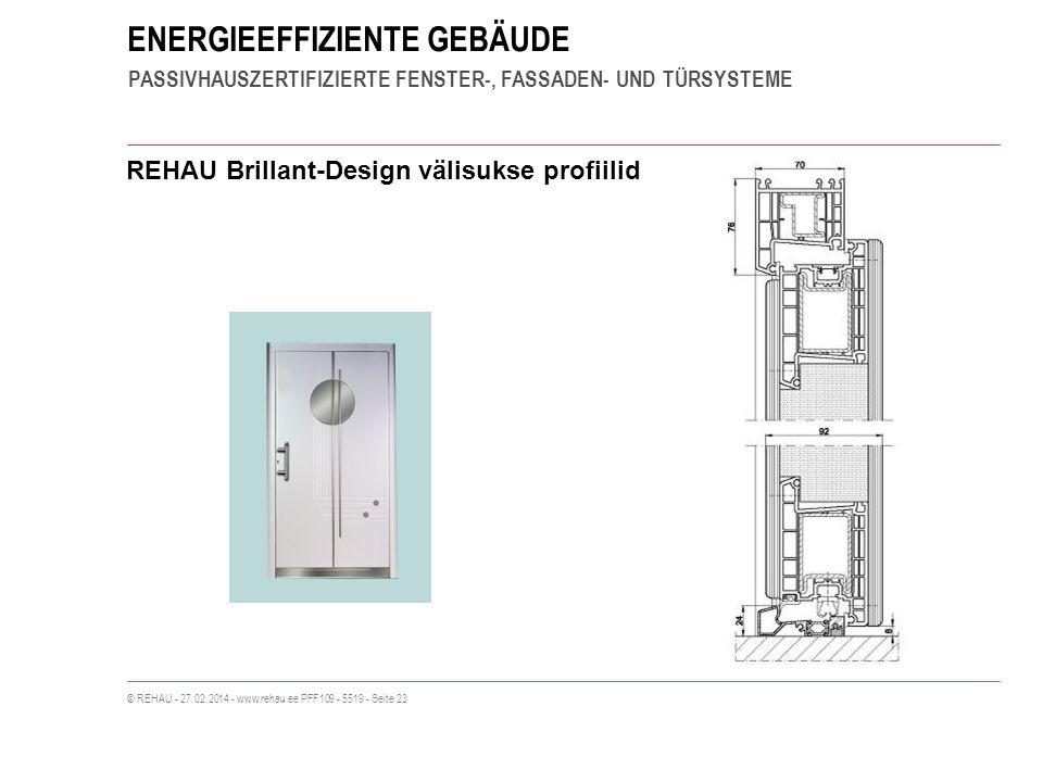 ENERGIEEFFIZIENTE GEBÄUDE PASSIVHAUSZERTIFIZIERTE FENSTER-, FASSADEN- UND TÜRSYSTEME © REHAU - 27.02.2014 - www.rehau.ee PFF109 - 5519 - Seite 23 REHAU Brillant-Design välisukse profiilid