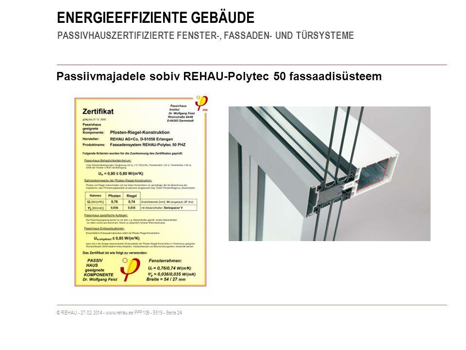 ENERGIEEFFIZIENTE GEBÄUDE PASSIVHAUSZERTIFIZIERTE FENSTER-, FASSADEN- UND TÜRSYSTEME © REHAU - 27.02.2014 - www.rehau.ee PFF109 - 5519 - Seite 24 Passiivmajadele sobiv REHAU-Polytec 50 fassaadisüsteem