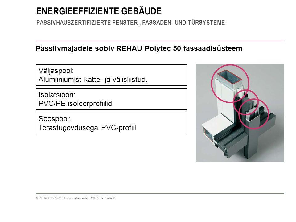 ENERGIEEFFIZIENTE GEBÄUDE PASSIVHAUSZERTIFIZIERTE FENSTER-, FASSADEN- UND TÜRSYSTEME © REHAU - 27.02.2014 - www.rehau.ee PFF109 - 5519 - Seite 25 Pass