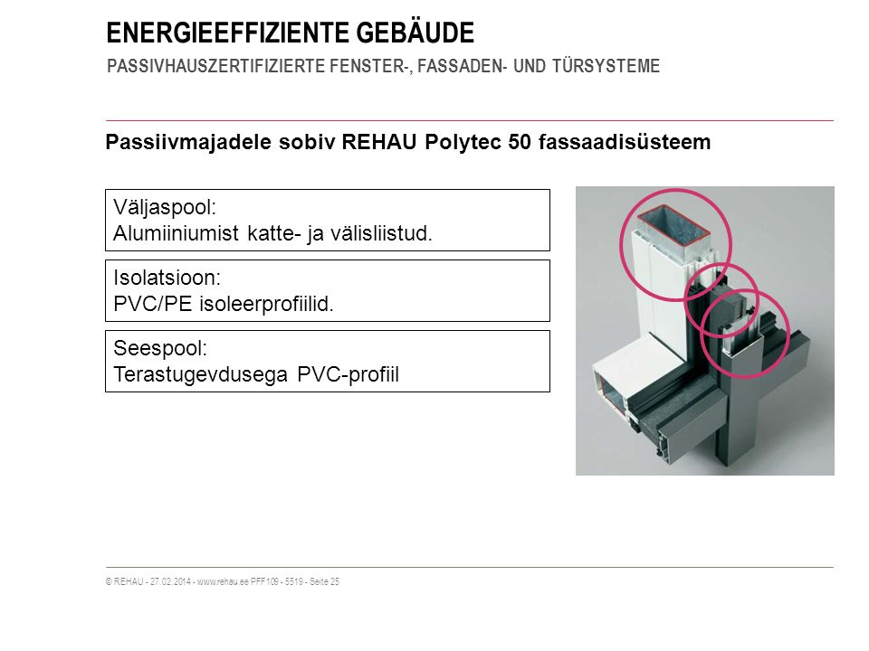ENERGIEEFFIZIENTE GEBÄUDE PASSIVHAUSZERTIFIZIERTE FENSTER-, FASSADEN- UND TÜRSYSTEME © REHAU - 27.02.2014 - www.rehau.ee PFF109 - 5519 - Seite 25 Passiivmajadele sobiv REHAU Polytec 50 fassaadisüsteem Väljaspool: Alumiiniumist katte- ja välisliistud.