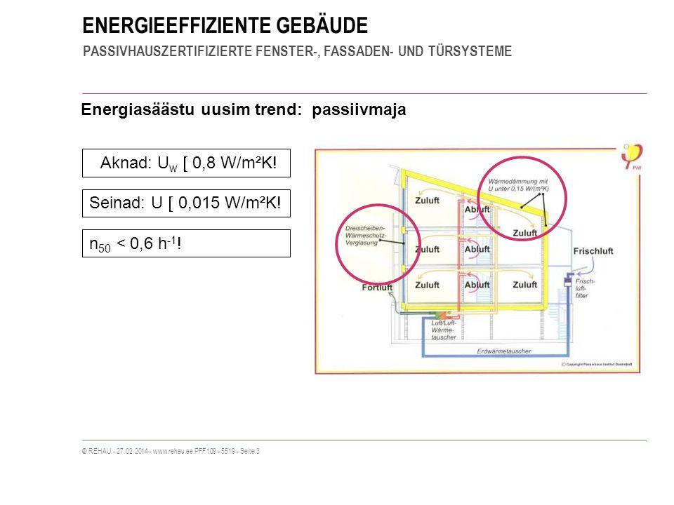 ENERGIEEFFIZIENTE GEBÄUDE PASSIVHAUSZERTIFIZIERTE FENSTER-, FASSADEN- UND TÜRSYSTEME © REHAU - 27.02.2014 - www.rehau.ee PFF109 - 5519 - Seite 3 Energiasäästu uusim trend: passiivmaja Aknad: U w 0,8 W/m²K.