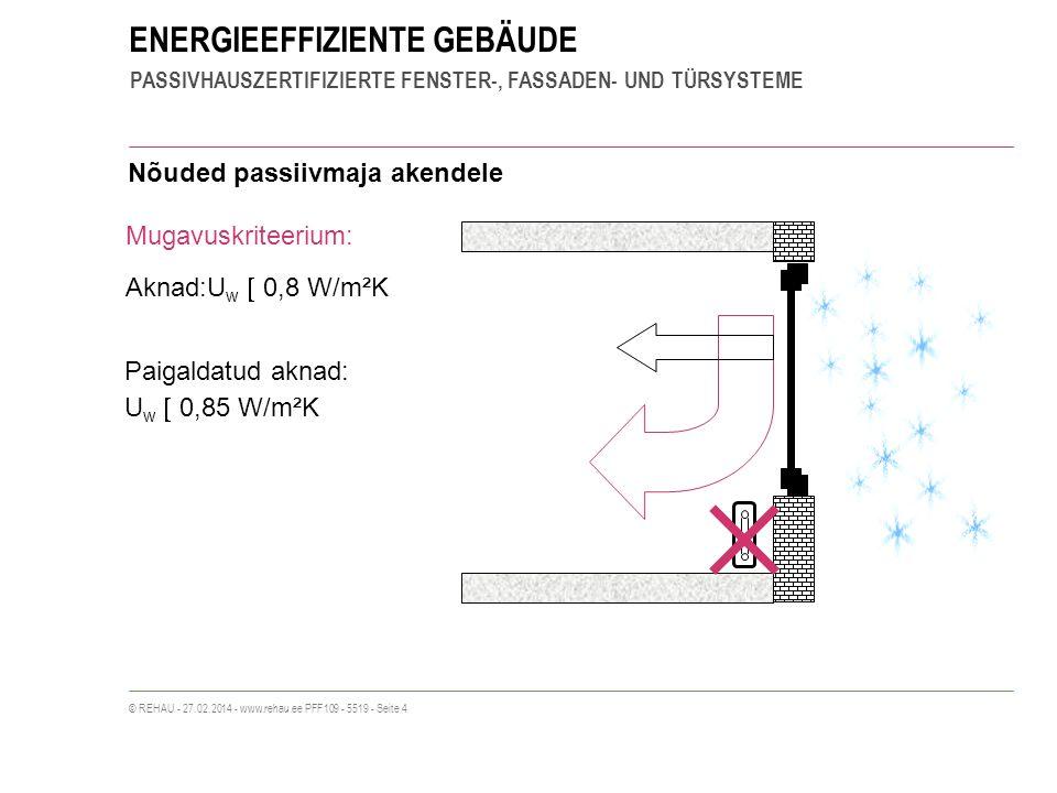 ENERGIEEFFIZIENTE GEBÄUDE PASSIVHAUSZERTIFIZIERTE FENSTER-, FASSADEN- UND TÜRSYSTEME © REHAU - 27.02.2014 - www.rehau.ee PFF109 - 5519 - Seite 4 Aknad:U w 0,8 W/m²K Mugavuskriteerium: Nõuded passiivmaja akendele Paigaldatud aknad: U w 0,85 W/m²K