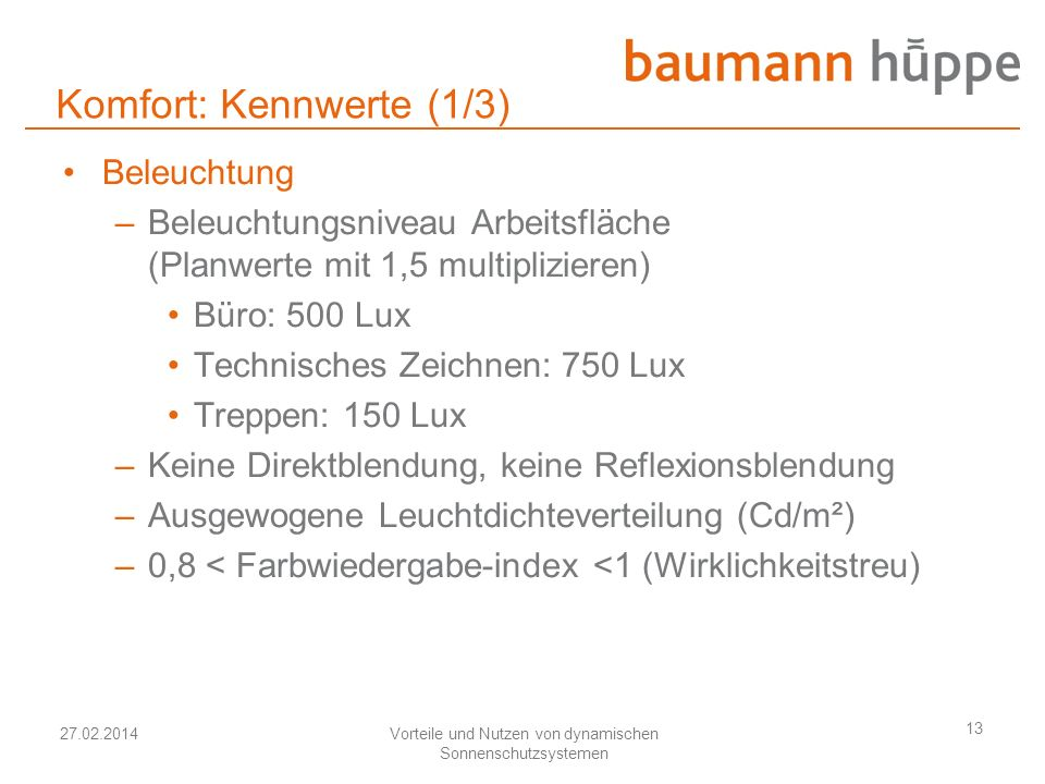 27.02.2014Vorteile und Nutzen von dynamischen Sonnenschutzsystemen 13 Komfort: Kennwerte (1/3) Beleuchtung –Beleuchtungsniveau Arbeitsfläche (Planwert