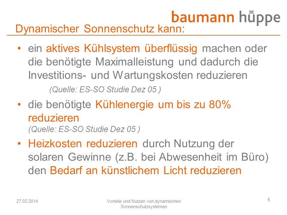 27.02.2014Vorteile und Nutzen von dynamischen Sonnenschutzsystemen 6 Dynamischer Sonnenschutz kann: ein aktives Kühlsystem überflüssig machen oder die