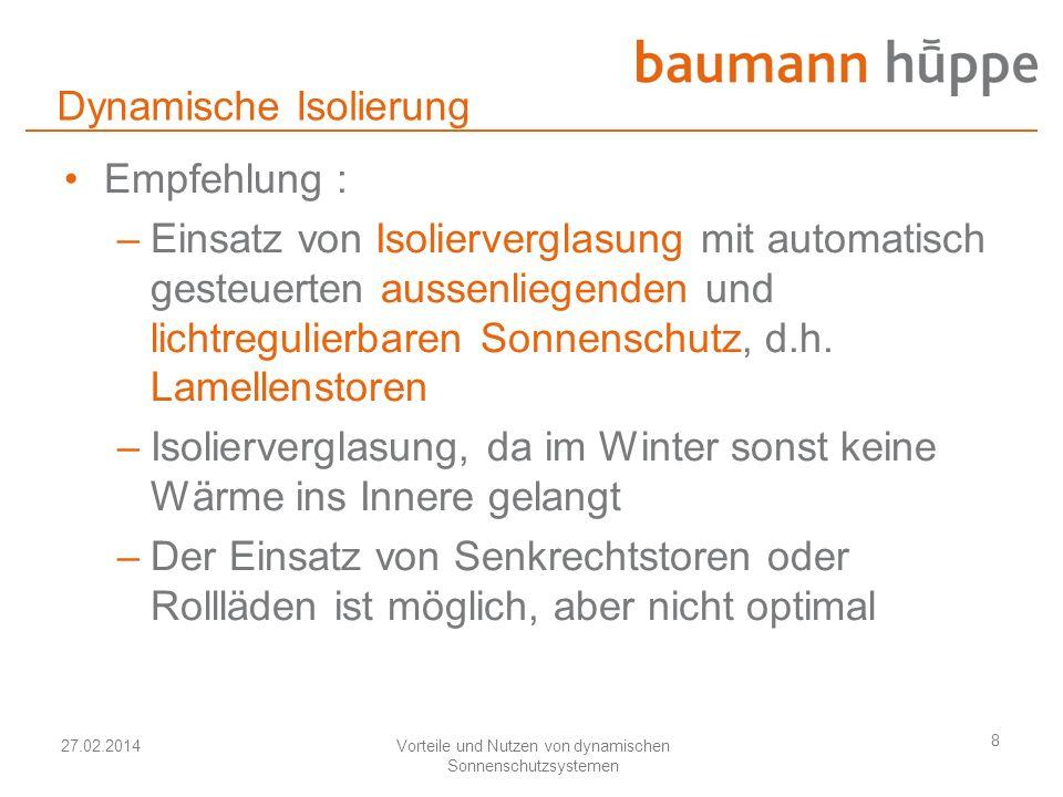 27.02.2014Vorteile und Nutzen von dynamischen Sonnenschutzsystemen 8 Dynamische Isolierung Empfehlung : –Einsatz von Isolierverglasung mit automatisch