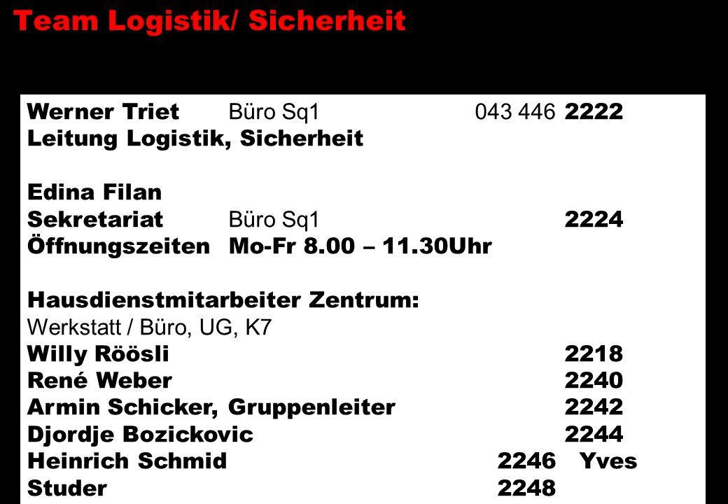 Team Logistik/ Sicherheit Werner Triet Büro Sq1 043 446 2222 Leitung Logistik, Sicherheit Edina Filan Sekretariat Büro Sq1 2224 Öffnungszeiten Mo-Fr 8