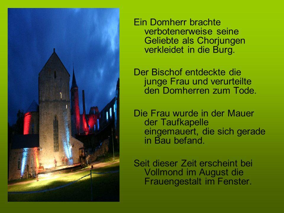Ein Domherr brachte verbotenerweise seine Geliebte als Chorjungen verkleidet in die Burg. Der Bischof entdeckte die junge Frau und verurteilte den Dom