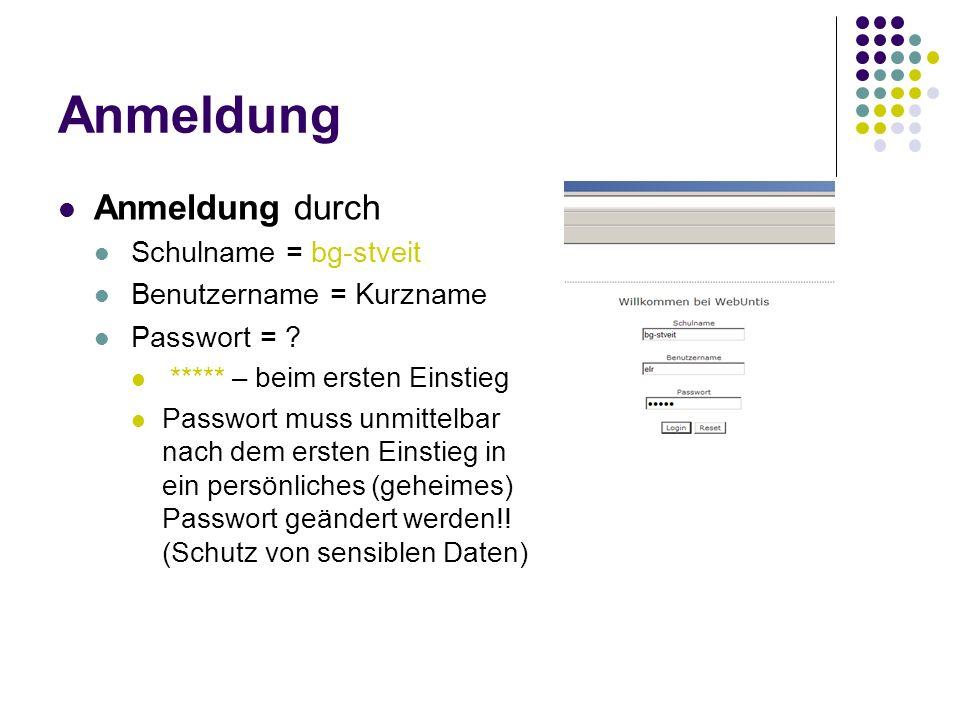 Anmeldung Anmeldung durch Schulname = bg-stveit Benutzername = Kurzname Passwort = .