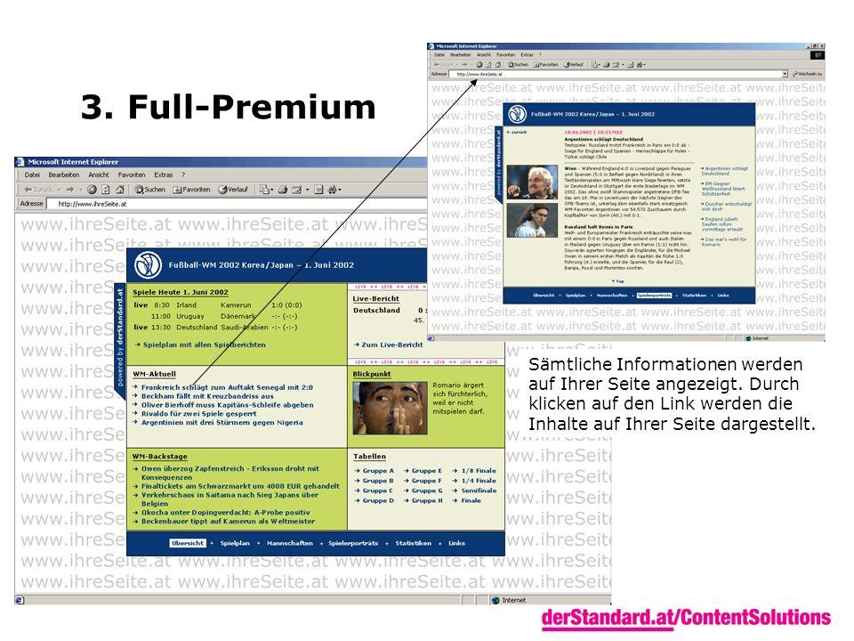 3. Full-Premium Sämtliche Informationen werden auf Ihrer Seite angezeigt. Durch klicken auf den Link werden die Inhalte auf Ihrer Seite dargestellt.
