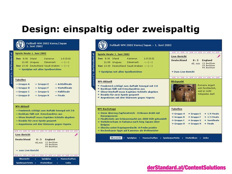 Design: einspaltig oder zweispaltig