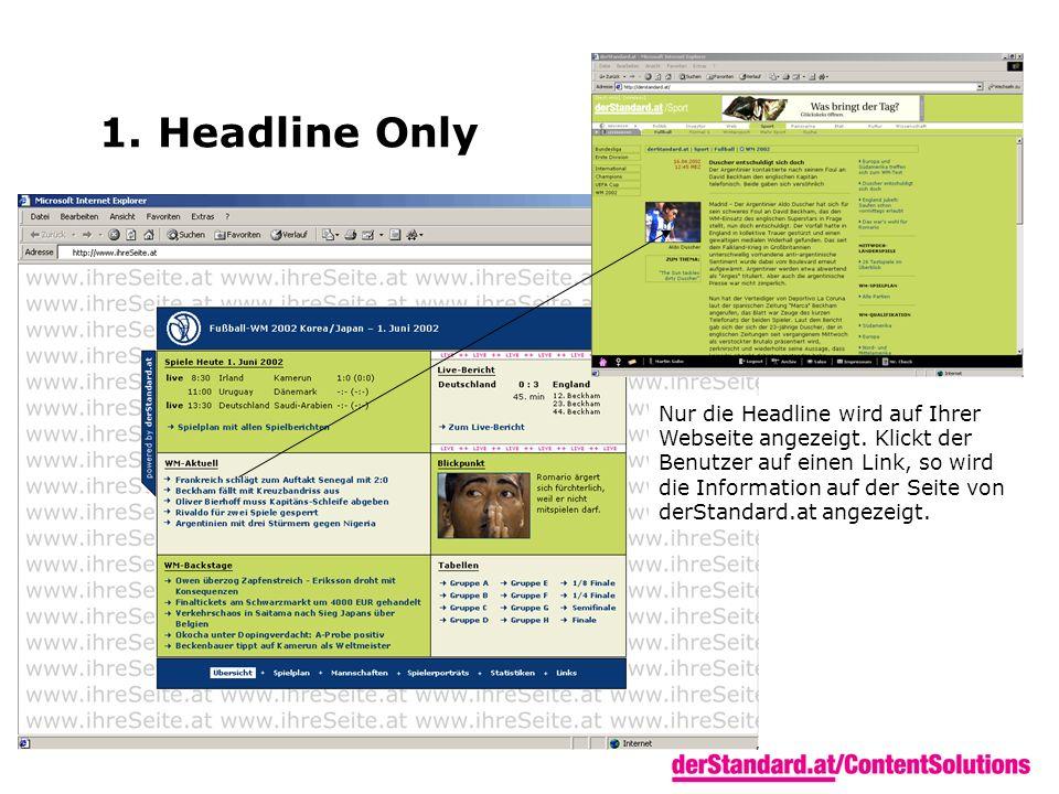 1. Headline Only Nur die Headline wird auf Ihrer Webseite angezeigt. Klickt der Benutzer auf einen Link, so wird die Information auf der Seite von der
