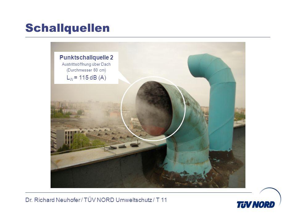 Schallquellen Dr. Richard Neuhofer / TÜV NORD Umweltschutz / T 11 Punktschallquelle 2 Austrittsöffnung über Dach (Durchmesser 80 cm) L W = 115 dB (A)