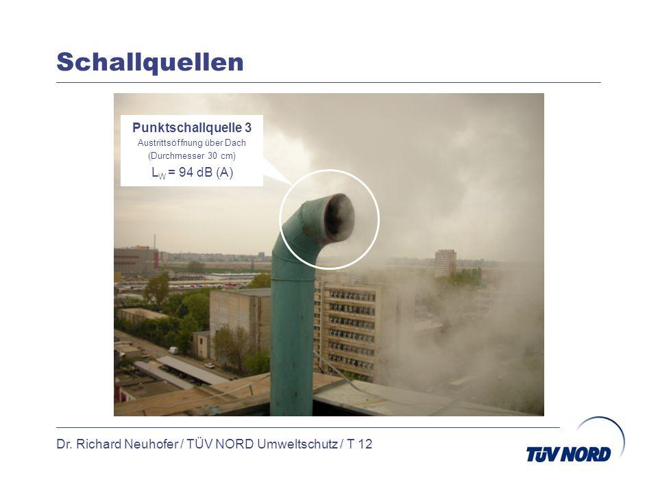 Schallquellen Dr. Richard Neuhofer / TÜV NORD Umweltschutz / T 12 Punktschallquelle 3 Austrittsöffnung über Dach (Durchmesser 30 cm) L W = 94 dB (A)