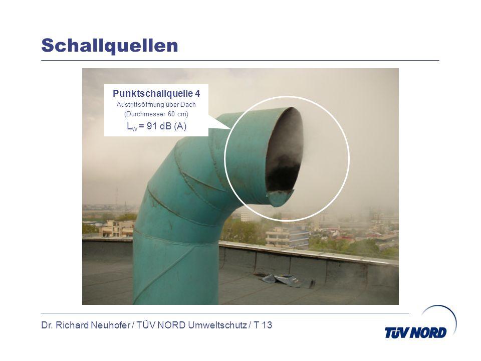 Schallquellen Dr. Richard Neuhofer / TÜV NORD Umweltschutz / T 13 Punktschallquelle 4 Austrittsöffnung über Dach (Durchmesser 60 cm) L W = 91 dB (A)