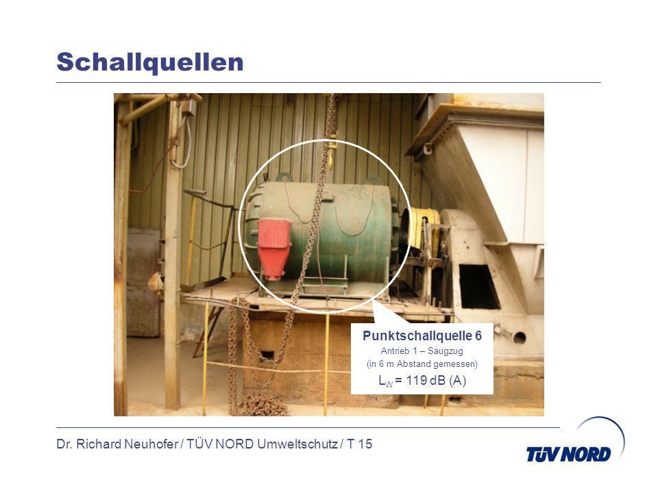 Schallquellen Dr. Richard Neuhofer / TÜV NORD Umweltschutz / T 15 Punktschallquelle 6 Antrieb 1 – Saugzug (in 6 m Abstand gemessen) L W = 119 dB (A)