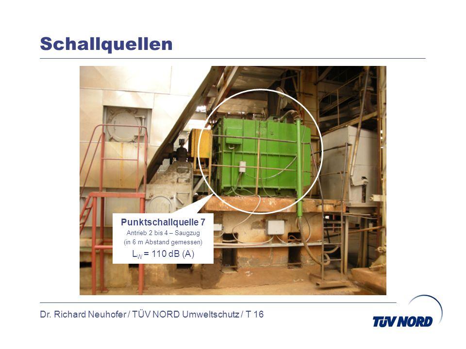 Schallquellen Dr. Richard Neuhofer / TÜV NORD Umweltschutz / T 16 Punktschallquelle 7 Antrieb 2 bis 4 – Saugzug (in 6 m Abstand gemessen) L W = 110 dB