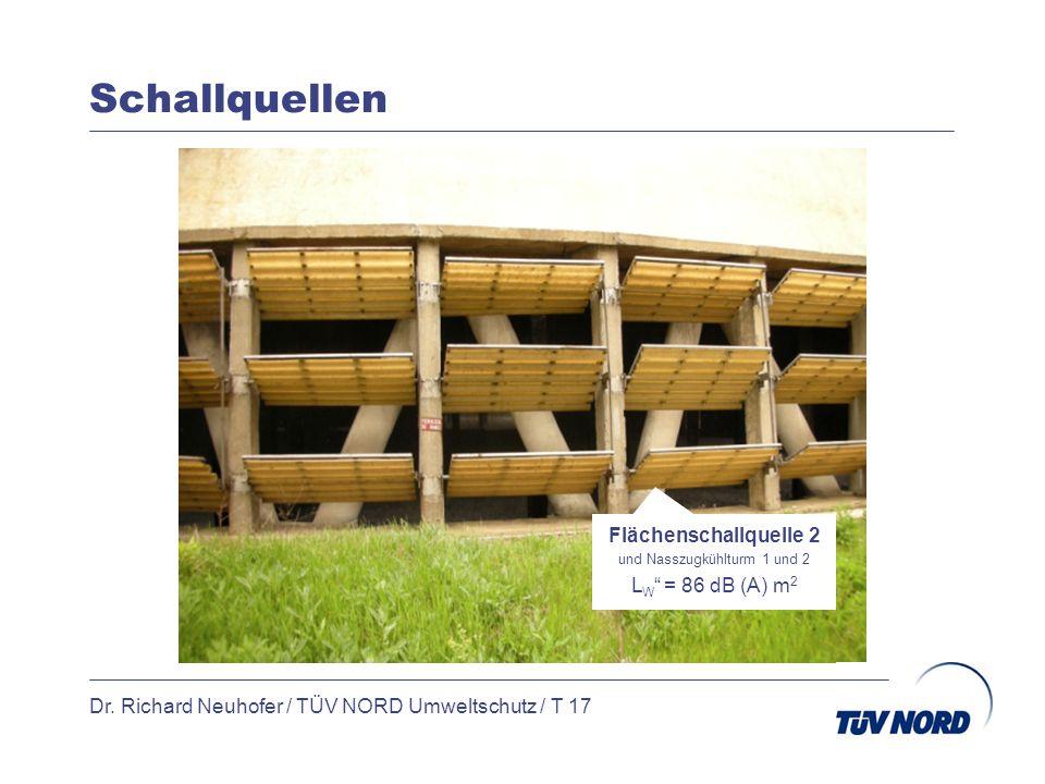 Schallquellen Dr. Richard Neuhofer / TÜV NORD Umweltschutz / T 17 Flächenschallquelle 2 und Nasszugkühlturm 1 und 2 L W = 86 dB (A) m 2
