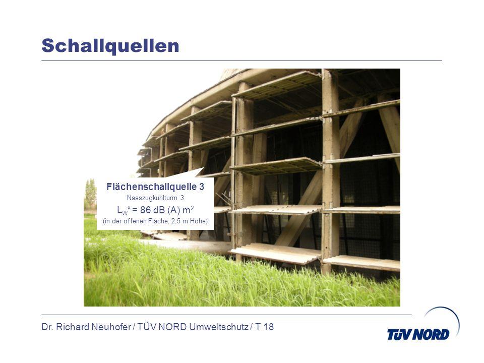 Schallquellen Dr. Richard Neuhofer / TÜV NORD Umweltschutz / T 18 Flächenschallquelle 3 Nasszugkühlturm 3 L W = 86 dB (A) m 2 (in der offenen Fläche,