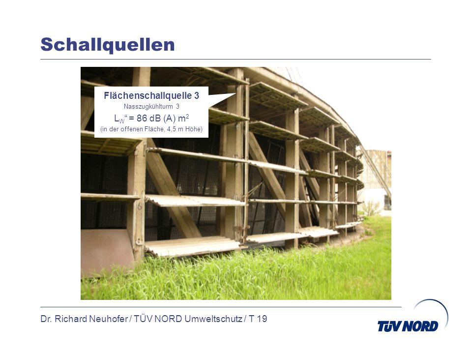 Schallquellen Dr. Richard Neuhofer / TÜV NORD Umweltschutz / T 19 Flächenschallquelle 3 Nasszugkühlturm 3 L W = 86 dB (A) m 2 (in der offenen Fläche,