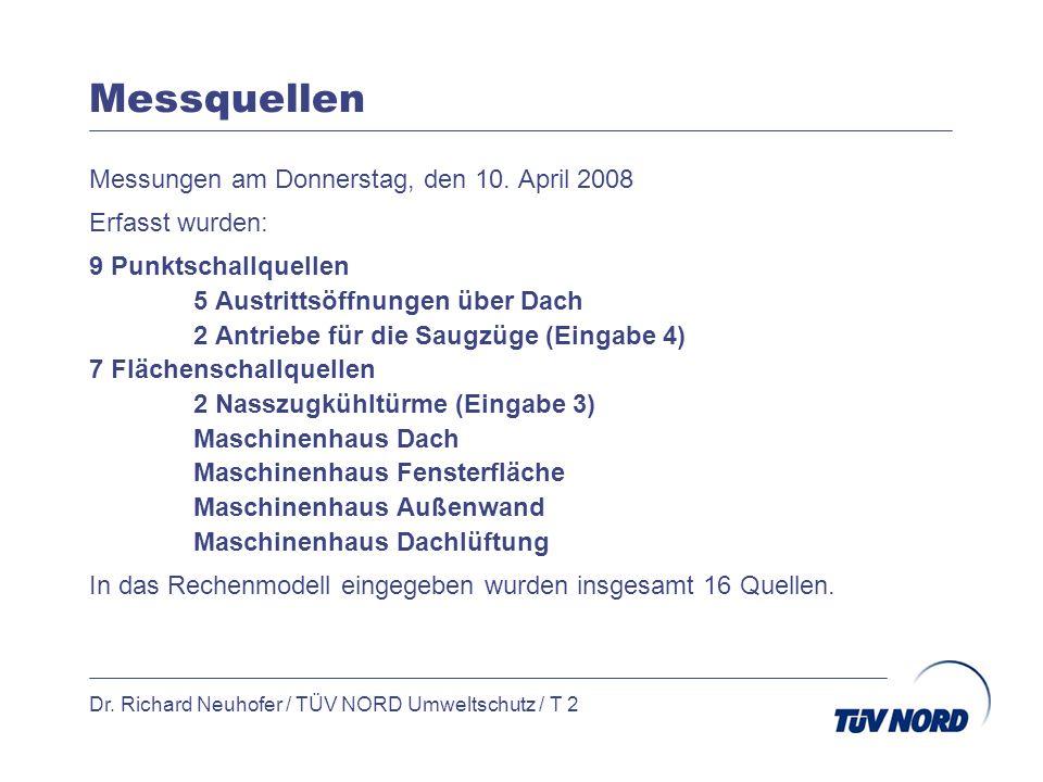 Messquellen Messungen am Donnerstag, den 10. April 2008 Erfasst wurden: 9 Punktschallquellen 5 Austrittsöffnungen über Dach 2 Antriebe für die Saugzüg