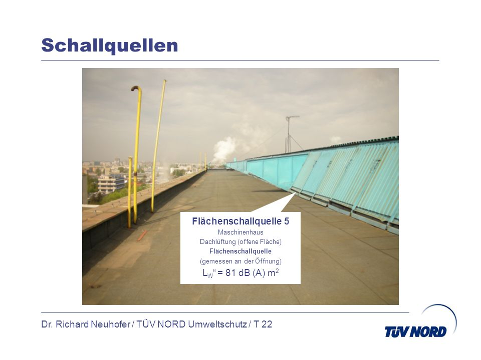 Schallquellen Dr. Richard Neuhofer / TÜV NORD Umweltschutz / T 22 Flächenschallquelle 5 Maschinenhaus Dachlüftung (offene Fläche) Flächenschallquelle
