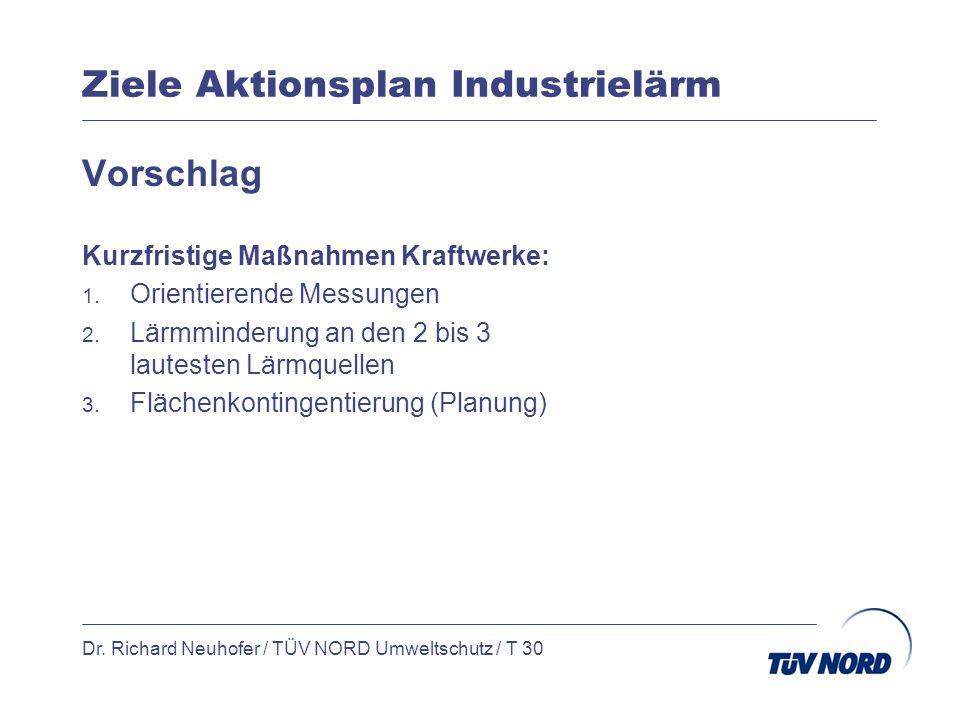 Ziele Aktionsplan Industrielärm Dr. Richard Neuhofer / TÜV NORD Umweltschutz / T 30 Vorschlag Kurzfristige Maßnahmen Kraftwerke: 1. Orientierende Mess