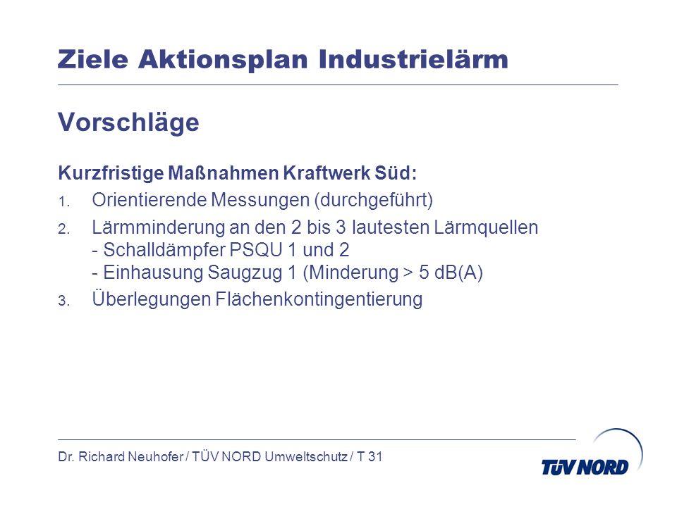 Ziele Aktionsplan Industrielärm Dr. Richard Neuhofer / TÜV NORD Umweltschutz / T 31 Vorschläge Kurzfristige Maßnahmen Kraftwerk Süd: 1. Orientierende