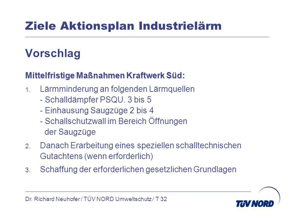 Ziele Aktionsplan Industrielärm Dr. Richard Neuhofer / TÜV NORD Umweltschutz / T 32 Vorschlag Mittelfristige Maßnahmen Kraftwerk Süd: 1. Lärmminderung