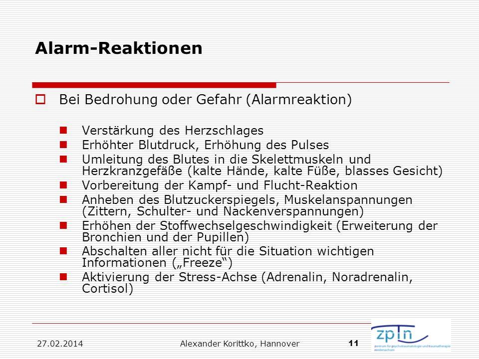 27.02.2014 Alexander Korittko, Hannover 11 Alarm-Reaktionen Bei Bedrohung oder Gefahr (Alarmreaktion) Verstärkung des Herzschlages Erhöhter Blutdruck,