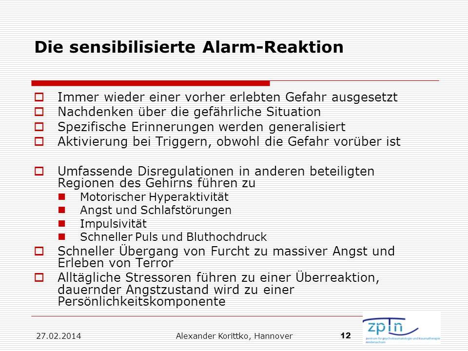 27.02.2014 Alexander Korittko, Hannover 12 Die sensibilisierte Alarm-Reaktion Immer wieder einer vorher erlebten Gefahr ausgesetzt Nachdenken über die