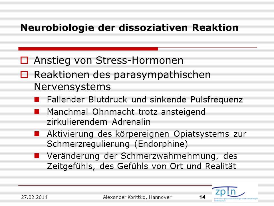 27.02.2014 Alexander Korittko, Hannover 14 Neurobiologie der dissoziativen Reaktion Anstieg von Stress-Hormonen Reaktionen des parasympathischen Nerve