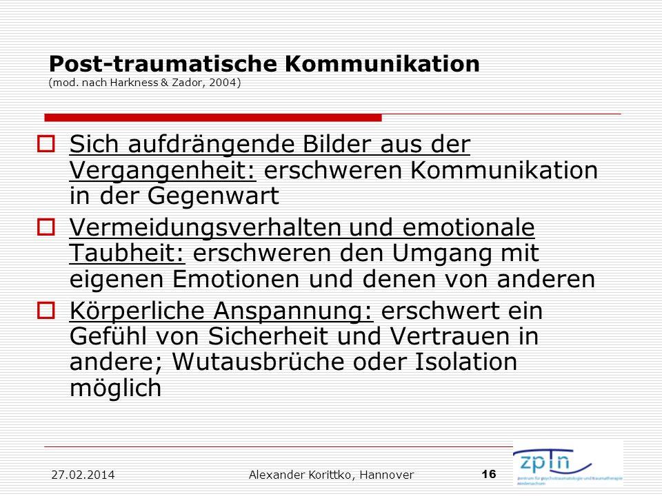 27.02.2014 Alexander Korittko, Hannover 16 Post-traumatische Kommunikation (mod. nach Harkness & Zador, 2004) Sich aufdrängende Bilder aus der Vergang