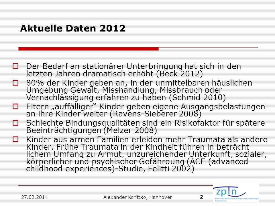 27.02.2014 Alexander Korittko, Hannover 2 Aktuelle Daten 2012 Der Bedarf an stationärer Unterbringung hat sich in den letzten Jahren dramatisch erhöht