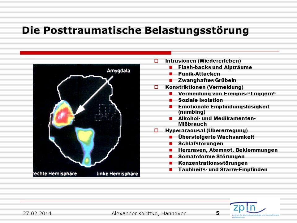 27.02.2014 Alexander Korittko, Hannover 5 Die Posttraumatische Belastungsstörung Intrusionen (Wiedererleben) Flash-backs und Alpträume Panik-Attacken
