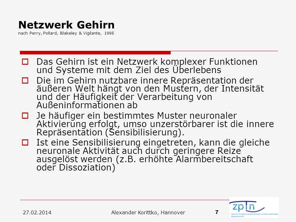 27.02.2014 Alexander Korittko, Hannover 7 Netzwerk Gehirn nach Perry, Pollard, Blakeley & Vigilante, 1995 Das Gehirn ist ein Netzwerk komplexer Funkti