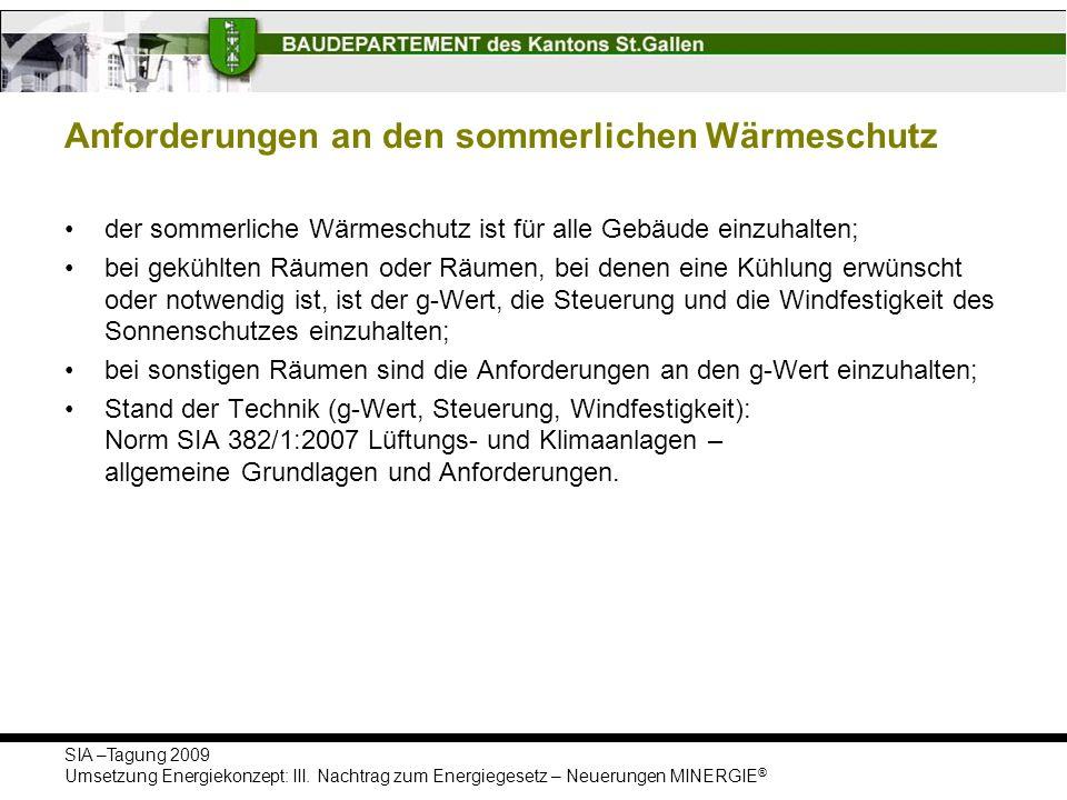 SIA –Tagung 2009 Umsetzung Energiekonzept: III. Nachtrag zum Energiegesetz – Neuerungen MINERGIE ® Anforderungen an den sommerlichen Wärmeschutz der s