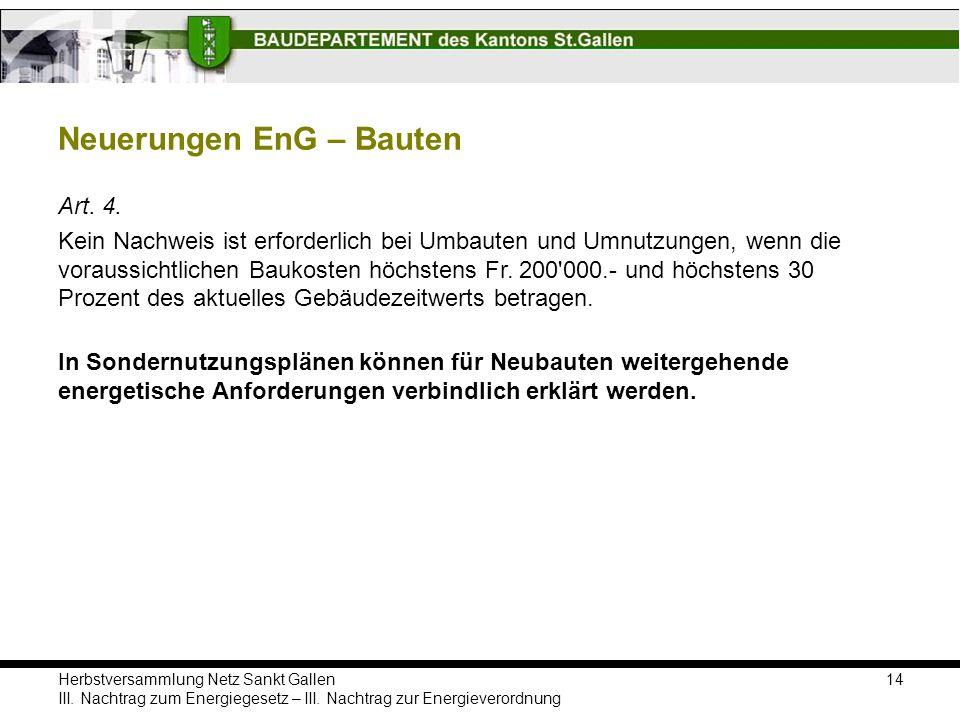 Herbstversammlung Netz Sankt Gallen III. Nachtrag zum Energiegesetz – III. Nachtrag zur Energieverordnung Neuerungen EnG – Bauten 14 Art. 4. Kein Nach