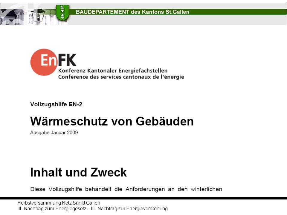 Herbstversammlung Netz Sankt Gallen III. Nachtrag zum Energiegesetz – III. Nachtrag zur Energieverordnung