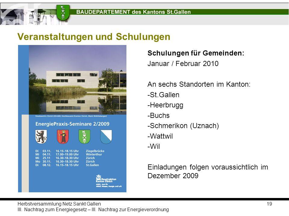 Herbstversammlung Netz Sankt Gallen III.Nachtrag zum Energiegesetz – III.