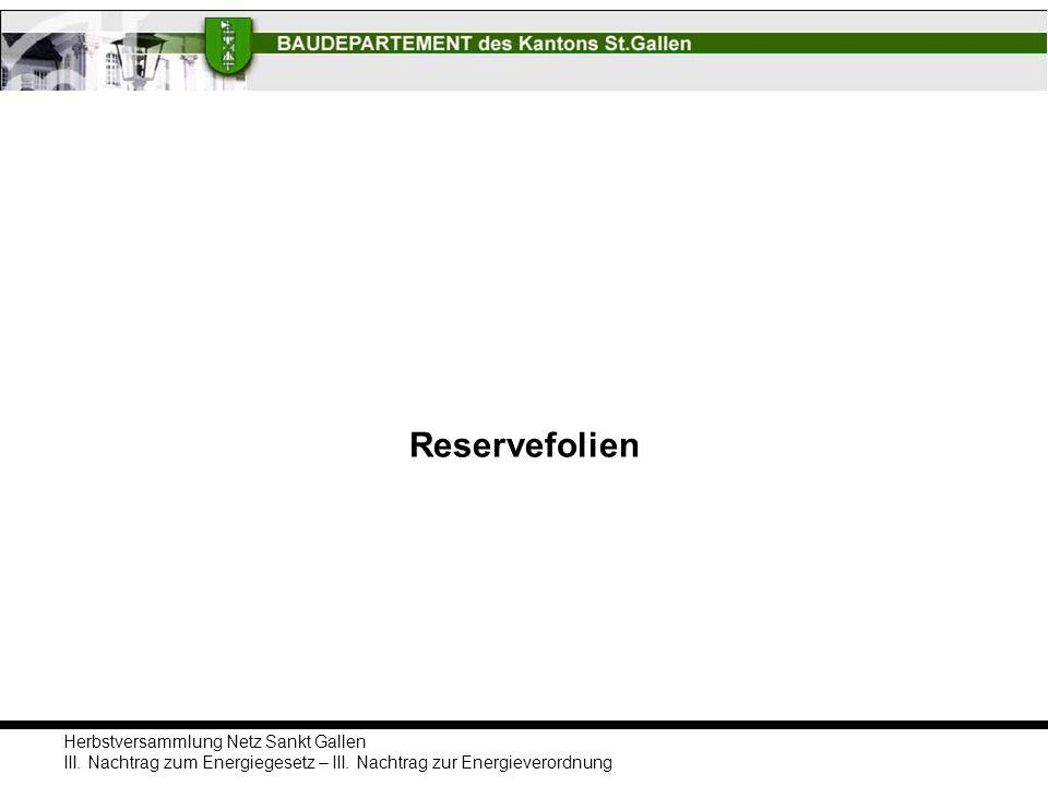 Herbstversammlung Netz Sankt Gallen III. Nachtrag zum Energiegesetz – III. Nachtrag zur Energieverordnung Reservefolien
