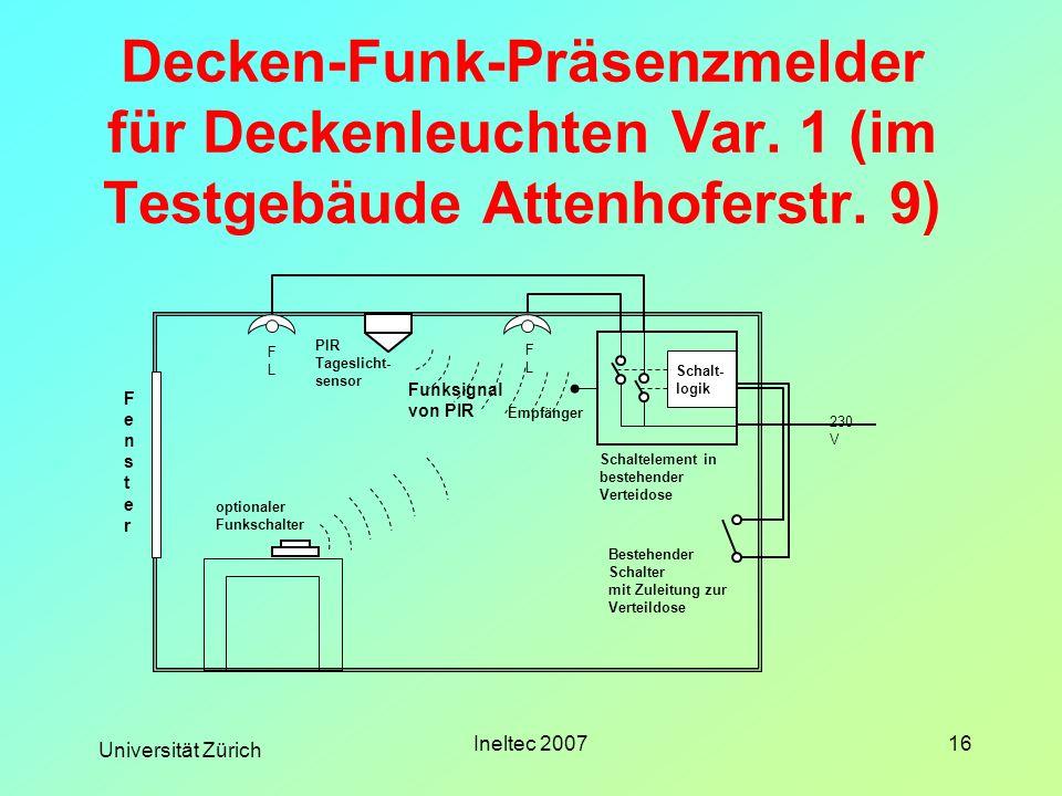 Universität Zürich Ineltec 200716 Decken-Funk-Präsenzmelder für Deckenleuchten Var. 1 (im Testgebäude Attenhoferstr. 9) FLFL FLFL PIR Tageslicht- sens