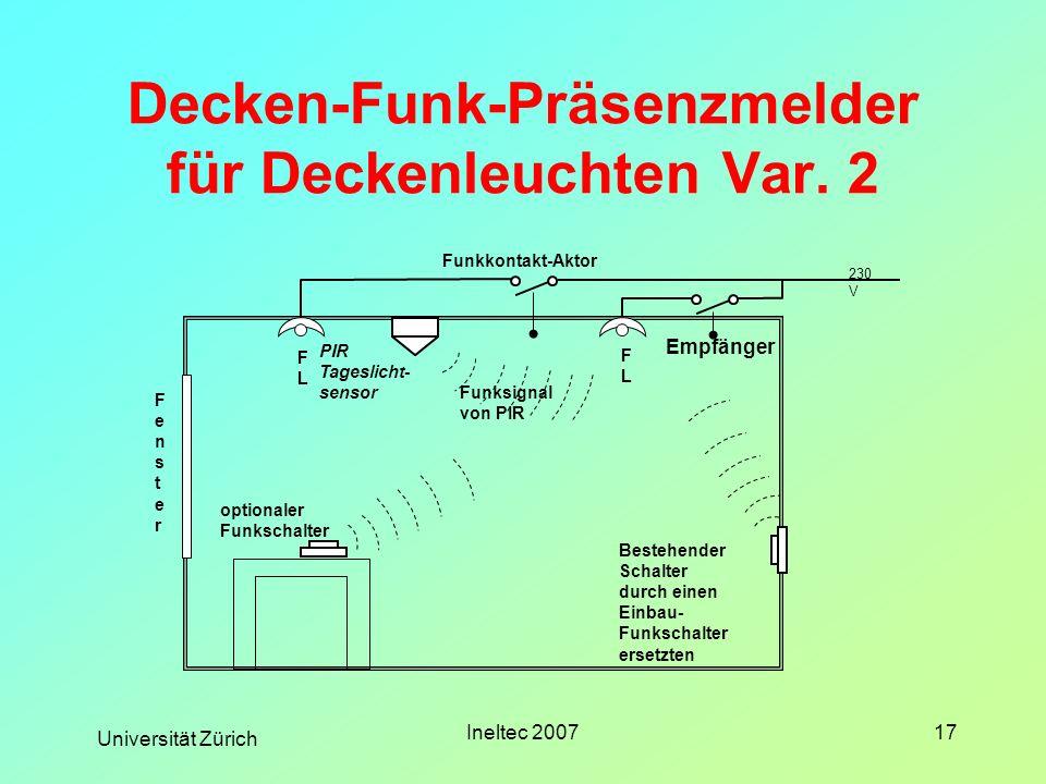 Universität Zürich Ineltec 200717 Decken-Funk-Präsenzmelder für Deckenleuchten Var. 2 FLFL FLFL PIR Tageslicht- sensor Bestehender Schalter durch eine