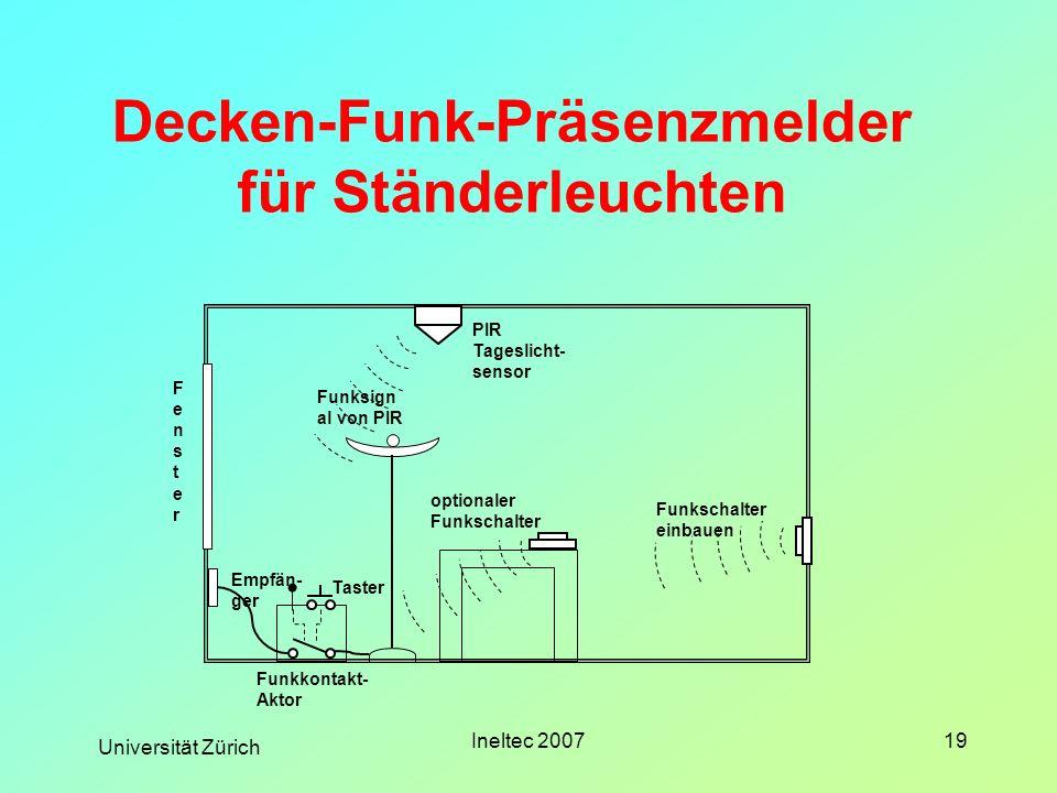 Universität Zürich Ineltec 200719 Decken-Funk-Präsenzmelder für Ständerleuchten PIR Tageslicht- sensor Funkschalter einbauen Funksign al von PIR Fenst