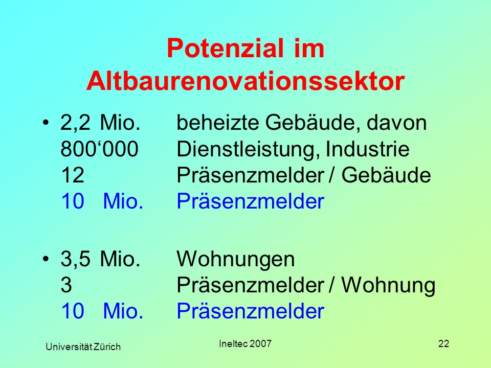 Universität Zürich Ineltec 200722 Potenzial im Altbaurenovationssektor 2,2Mio.beheizte Gebäude, davon 800000Dienstleistung, Industrie 12Präsenzmelder