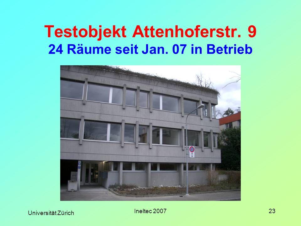 Universität Zürich Ineltec 200723 Testobjekt Attenhoferstr. 9 24 Räume seit Jan. 07 in Betrieb