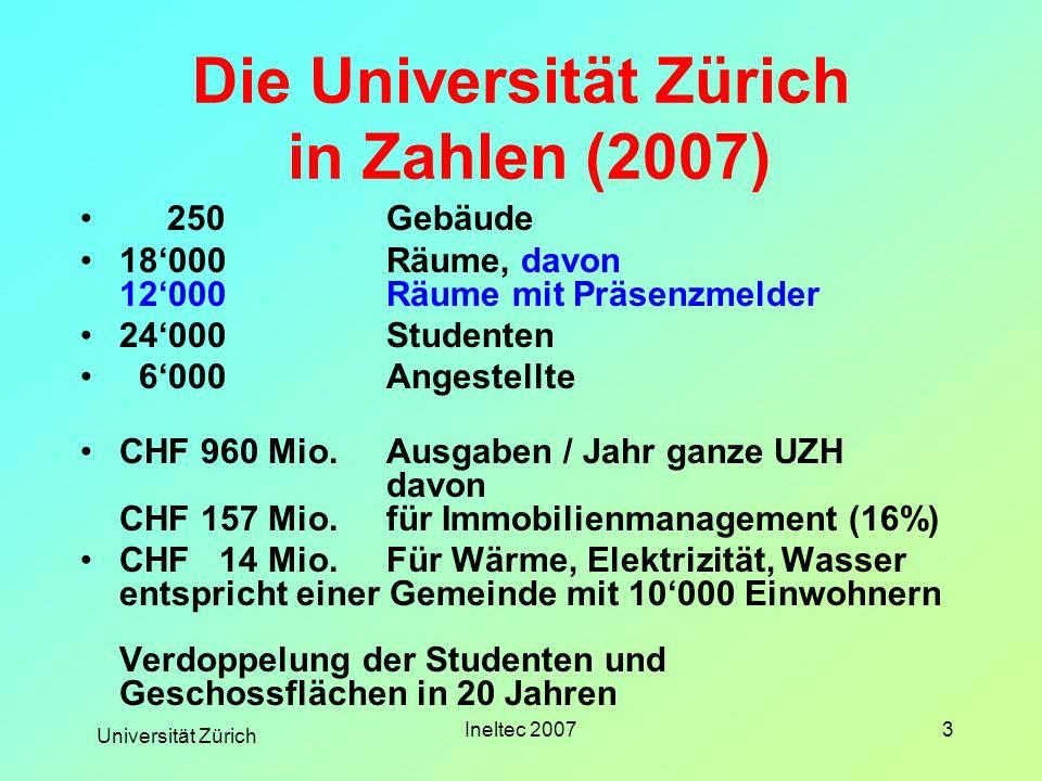 Universität Zürich Ineltec 20073 250Gebäude 18000Räume, davon 12000Räume mit Präsenzmelder 24000 Studenten 6000Angestellte CHF 960 Mio.Ausgaben / Jahr