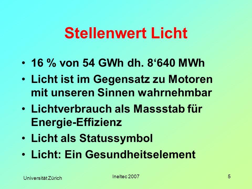 Universität Zürich Ineltec 20075 Stellenwert Licht 16 % von 54 GWh dh. 8640 MWh Licht ist im Gegensatz zu Motoren mit unseren Sinnen wahrnehmbar Licht