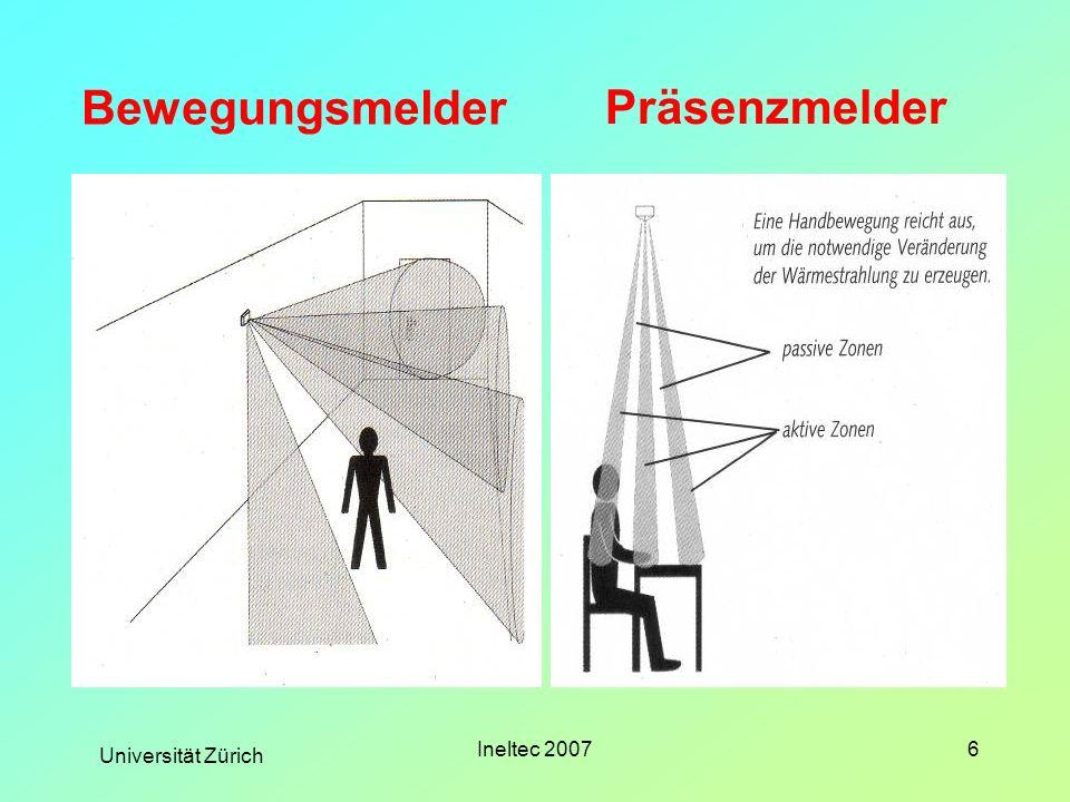 Universität Zürich Ineltec 20077 Einschränkungen der drahtgebundenen Präsenzmelder Änderung der Raumeinteilung Versetzen der Präsenzmelder Aufputz- Installation Hohe Umrüst- Kosten Denkmalschutz